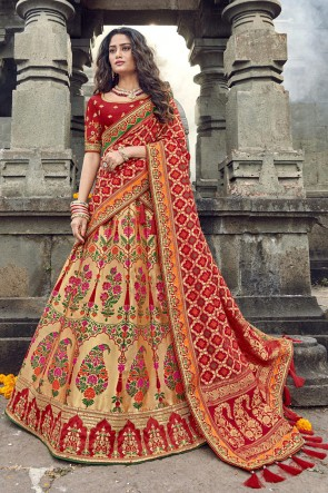 Golden Silk Fabric Embroidered And Zari Work Lehenga Choli And Dupatta