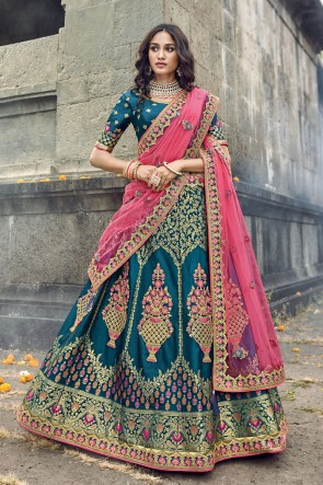 Teal Silk Fabric Zari And Embroidered Work Designer Lehenga Choli And Dupatta