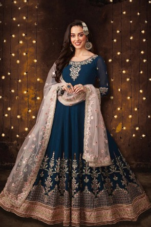 Blue Designer Foux Georgette Embroidered And Stone Work Anarkali Suit With Net Dupatta