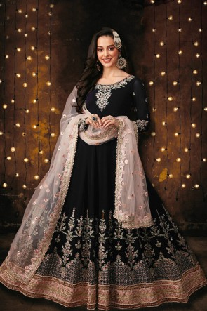 Foux Georgette Fabric Embroidered And Stone Work Black Anarkali Suit With Net Dupatta