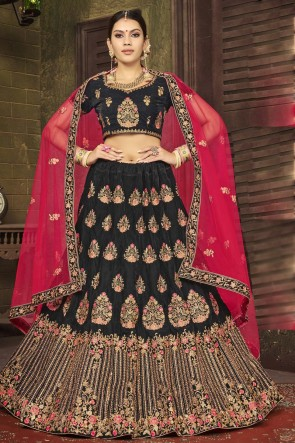 Heavy Designer Black Stone Work And Embroidered Velvet Lehenga Choli With Net Dupatta