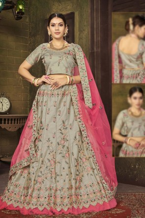 Grey Embroidered And Stone Work Silk Fabric Lehenga Choli With Net Dupatta