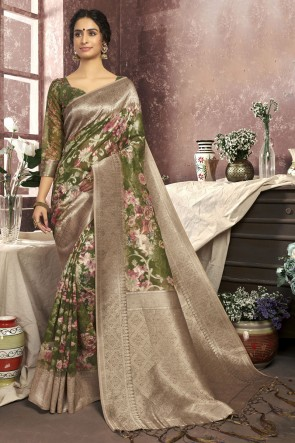 Stunning Green Cotton Fabric Designer Digital Print Saree And Blouse