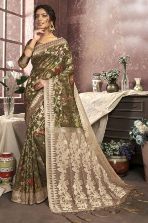 Cotton Fabric Digital Print Designer Mehendi Green Lovely Saree And Blouse