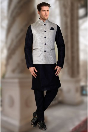 Silk Fabric Navy Blue And Silver Indo Western With Jacquard Fabric Jacket