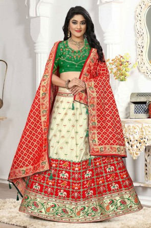 Silk And Jacquard Fabric Designer Off White Embroidered And Thread Work Lehenga Choli