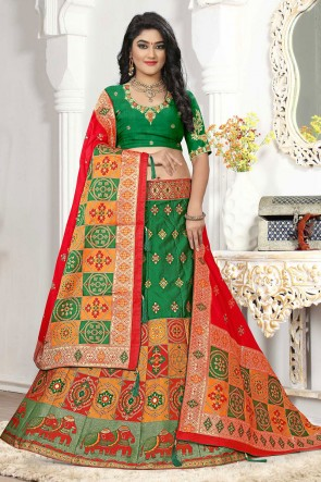 Embroidered And Thread Work Green Silk And Jacquard Designer Lehenga Choli