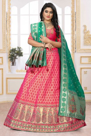 Heavy Designer Pink Embroidered And Thread Work Silk And Jacquard Lehenga Choli