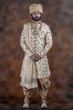 Stylish Off White Jacquard Fabric Wear Sherwani