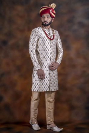 Graceful Silver Jacquard Fabric Wear Sherwani