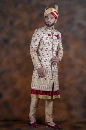 Gorgeous Off White Jacquard Fabric Sherwani