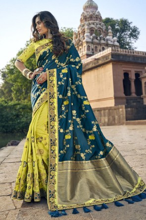 Weaving Work And Embroidered Teal And Yellow Silk Fabric Saree And Blouse