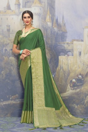 Green Net Fabric Weaving Work And Jacquard Work Designer Saree And Blouse