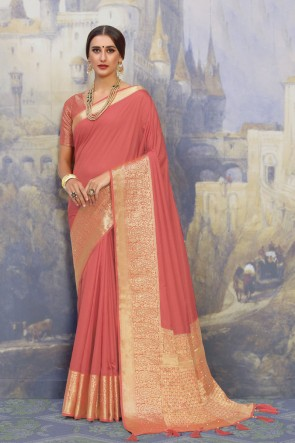 Peach Fabric Weaving Work And Jacquard Work Designer Peach Lovely Saree And Blouse