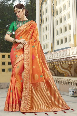 Embroidered And Weaving Work Orange Silk Fabric Saree And Blouse