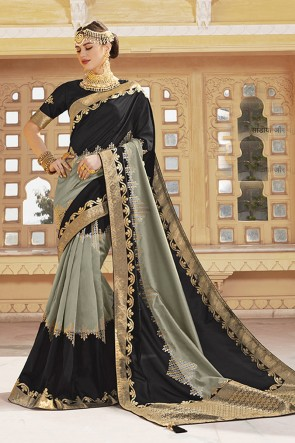 Black And Grey Silk Fabric Embroidered And Weaving Work Designer Saree And Blouse
