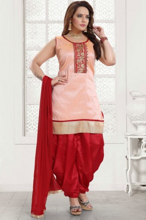 Silk Designer Light Pink Embroidered Patiala Suit With Net Dupatta