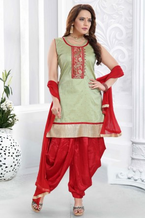 Designer Pista Embroidered Silk Patiala Suit With Net Dupatta