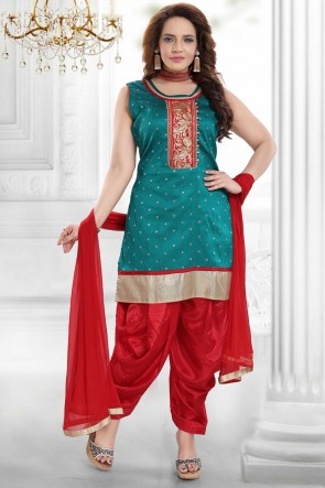 Rama Silk Embroidered Patiala Suit With Net Dupatta