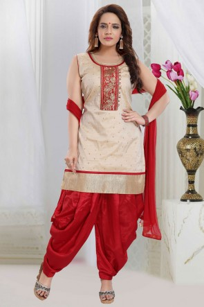 Cream Silk Embroidered Patiala Suit With Net Dupatta
