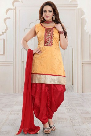 Embroidered Orange Silk Fabric Patiala Suit Net Dupatta