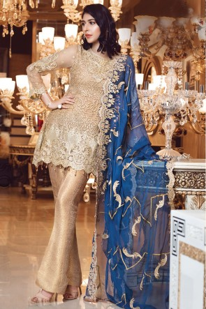 Embroidered Golden Faux Georgette Fabric Salwar Suit Chiffon Dupatta