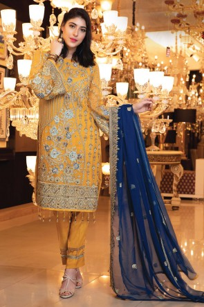 Faux Georgette Designer Yellow Embroidered Salwar Suit With Chiffon Dupatta