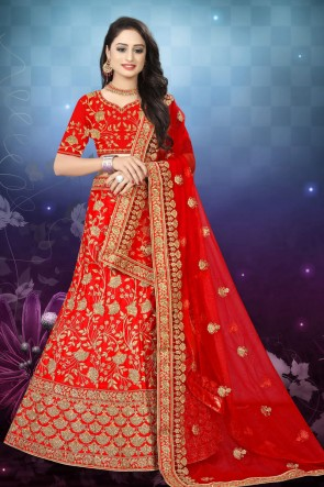 Red Embroidered And Stone Work Satin Fabric Lehenga Choli And Dupatta