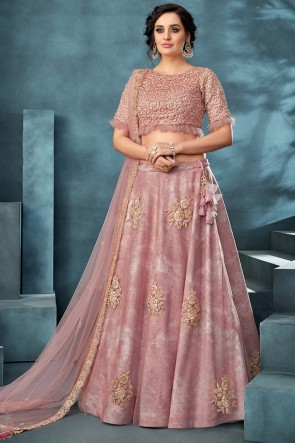 Pink Thread Work And Embroidered Work Designer Net Fabric Lehenga Choli With Net Dupatta