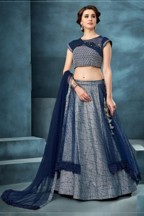 Beautiful Blue Embroidered And Thread Work Net Fabric Lehenga Choli With Net Dupatta