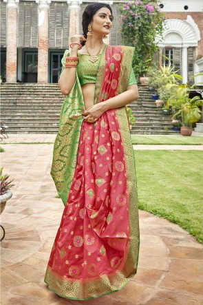 Art Silk Fabric Weaving Work And Jacquard Work Designer Peach Lovely Saree And Blouse