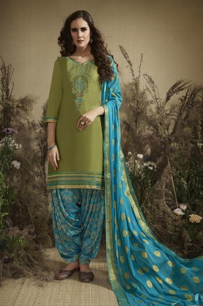 Designer Green Blue Embroidered And Zari Work Cotton Patiala Suit With Nazmin Dupatta