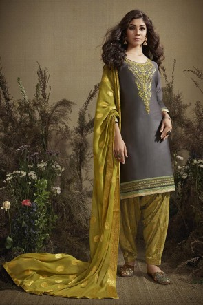 Grey Green Embroidered And Zari Work Cotton Patiala Suit With Nazmin Dupatta