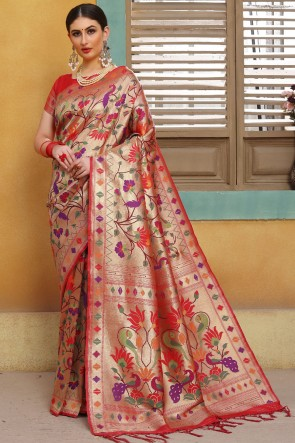 Weaving Work And Jacquard Work Red Golden Silk Saree And Blouse
