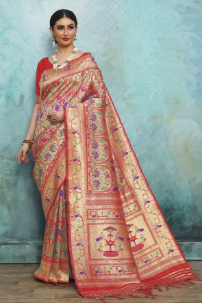 Red Golden Silk Weaving Work And Jacquard Work Designer Saree And Blouse