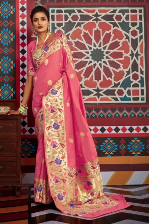 Baby Pink Silk Weaving Work And Jacquard Work Designer Saree And Blouse