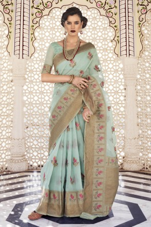 Sky Blue Karyon Linen Fabric Weaving Work Designer Saree And Blouse