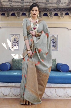 Weaving Work Grey Karyon Linen Fabric Saree And Blouse