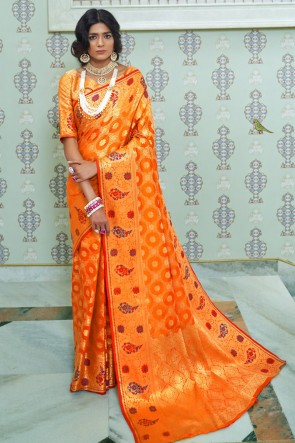 Optimum Weaving Work And Jacquard Work Orange Silk Fabric Designer Saree With Brocade Blouse