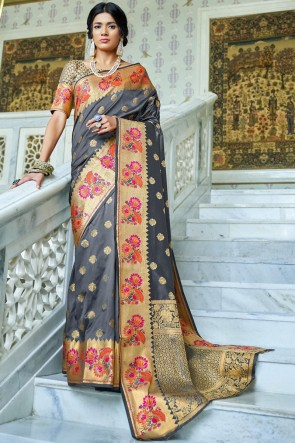 Georgette Fabric Grey And Orange Jacquard Work And Weaving Work Designer Saree With Silk Blouse