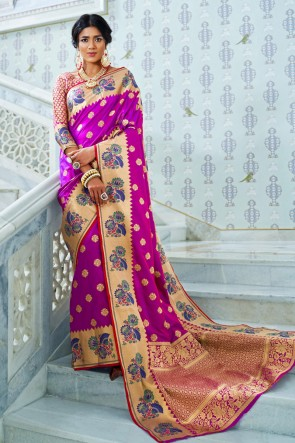 Weaving Work And Jacquard Work Pink Silk Designer Saree With Silk Blouse