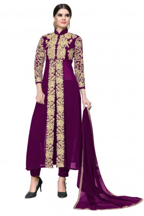 Desirable Purple Faux Georgette Embroidered Designer Salwar Suit With Nazmin Dupatta