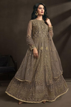 Brown Net Embroidered And Stone Work Abaya Style Anarkali Suit With Dupatta