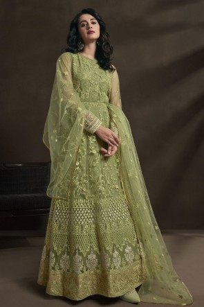 Embroidered And Stone Work Pista Net Fabric Anarkali Suit With Dupatta