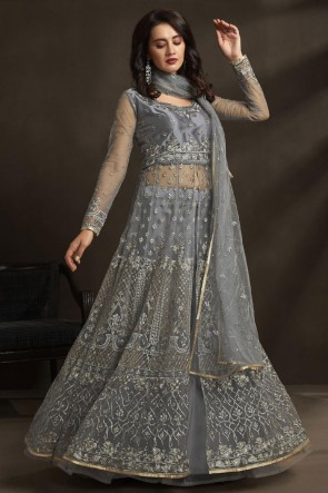 Net Designer Silver Embroidered And Stone Work Anarkali Suit With Dupatta
