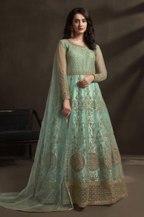 Sky Blue Net Embroidered And Stone Work Abaya Style Anarkali Suit With Dupatta