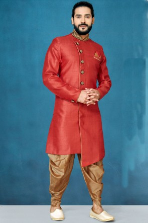 Excellent Red Jacquard And Silk Fabric Designer Indo Western
