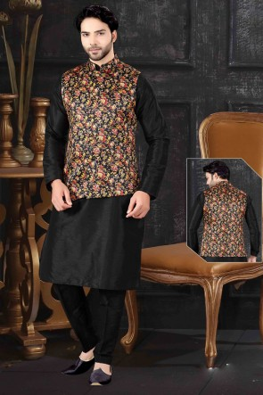 Black Art Silk Fabric Indo Western With Multi Colour Silk Fabric Jacket