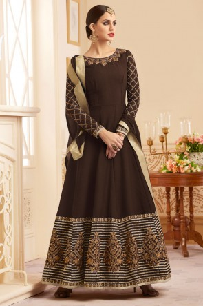 Ultimate Brown Heavy Silk Salwar Suit With Nazmin Dupatta