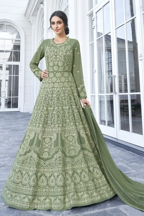 Embroidered Mehendi Green Georgette Fabric Anarkali Suit Nazmin Dupatta